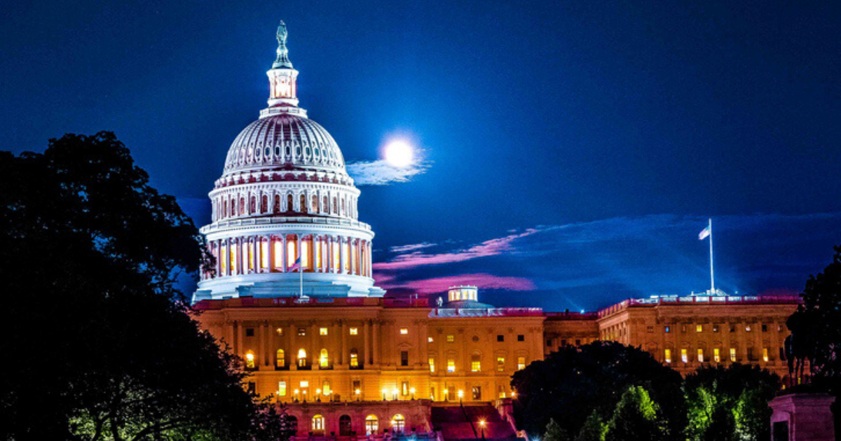 US Capital Building at night